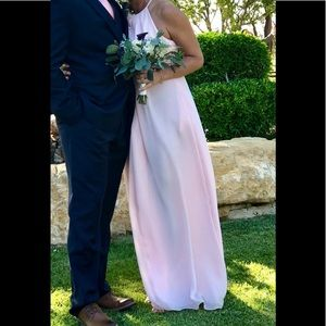 Formal Bridesmaid Long Length Pink Halter Dress